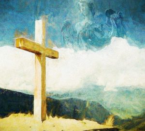 Painting of cross with angel hidden in sky